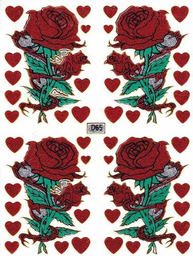 by soljo Rose Fleur -Rouge-Decal Autocollant de décalque 1 Metallic Glitter Dimensions de la Feuille: 13,5 cm x 10 cm