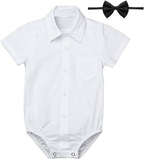 6a85dc09c3c75 iiniim Bébé Garçon Gentilhomme Body Combinaison à Manches Courtes Blanc  T-Shirt Costume de Baptême