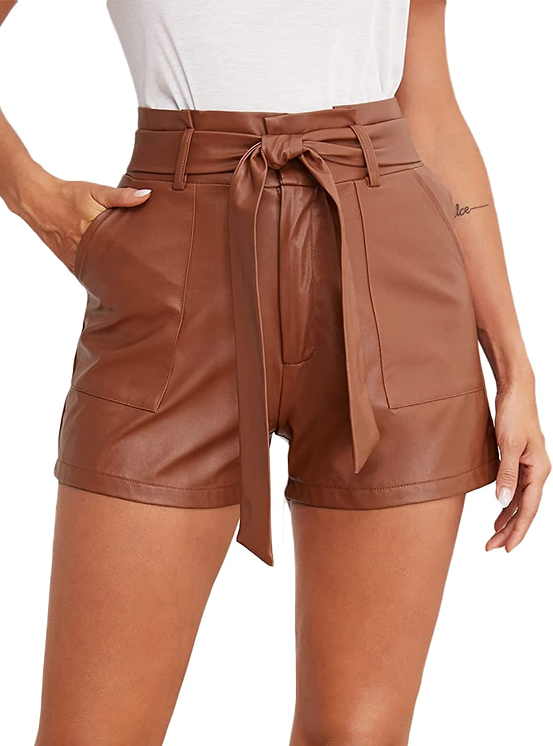 Floerns Women's Casual Belted Wide Leg High Waisted Leather Shorts with Pocket