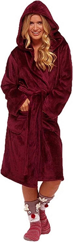 Warm Flannel Fleece Robe for Men Women,Big & Tall Long Plush Sherpa Bathrobe Lightweight Luxury Cotton Terry Hooded Robe