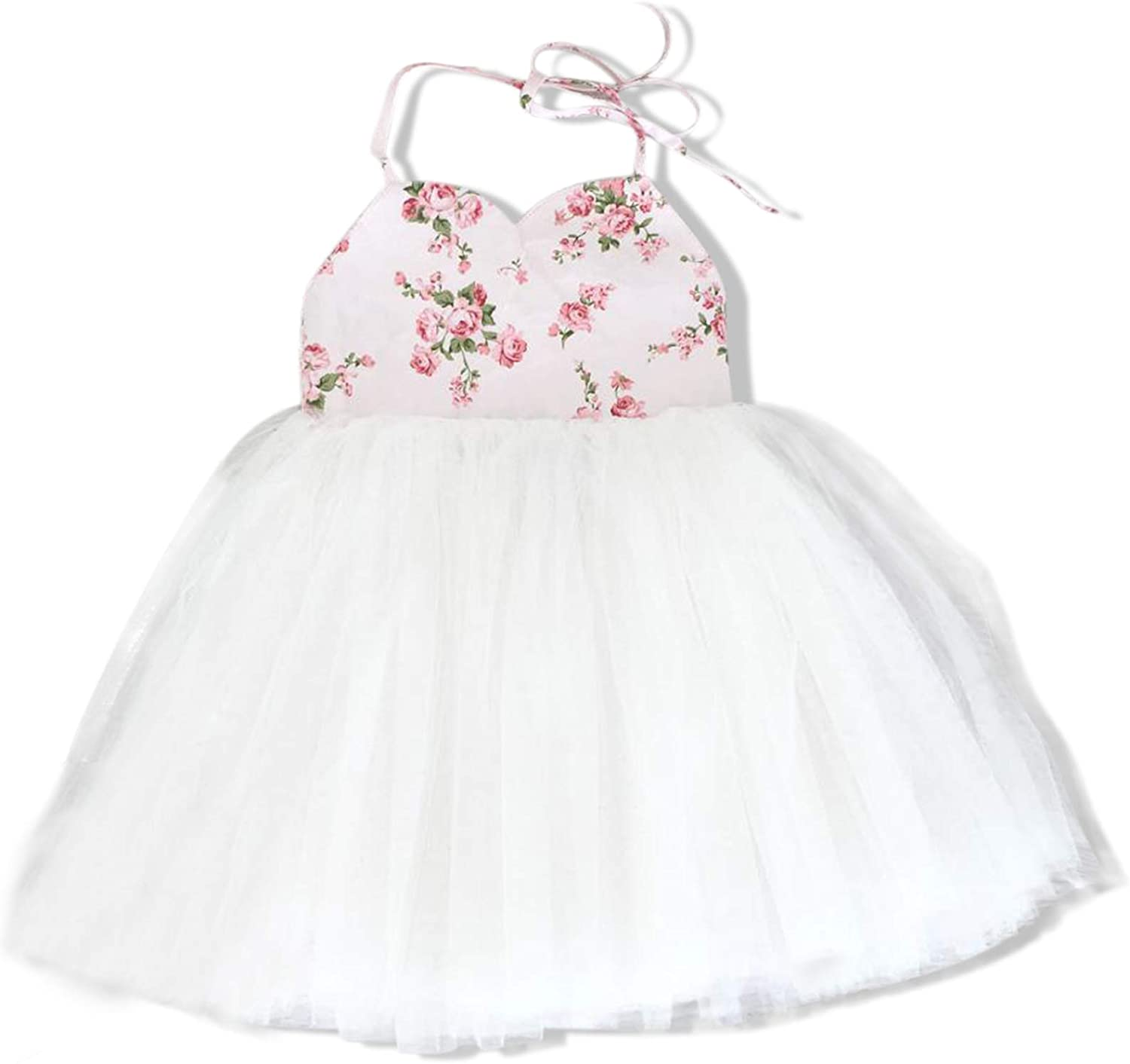 Toddler Girl Dress Outfits Baby Girls Onepiece Floral Wedding Tutu Dress Infant Tulle Party Sleeveless Sundress