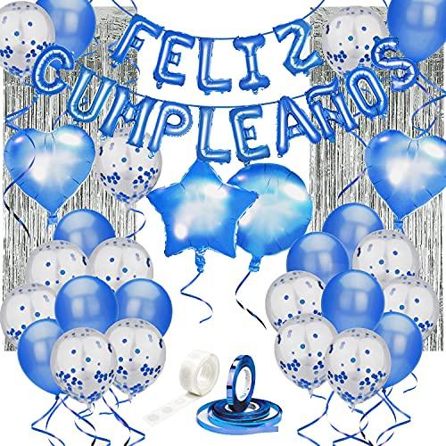 Set de decoración cumpleaños 80 piezas AZUL, con pancarta de letras inflables FELIZ CUMPLEAÑOS en español, globos de látex rellenos de confeti, estrellas y corazones, cinta para globos, y adhesivo