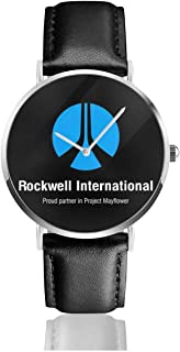 Unisex Business Casual Rockwell International Close Encounters of The Third Kind Watches Quartz Leather Watch with Black Leather Band for Men Women Young Collection Gift