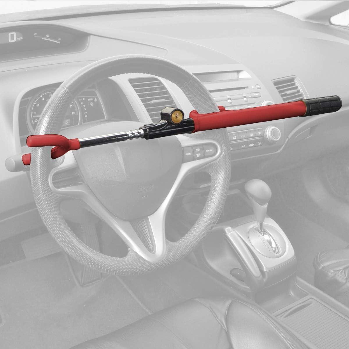 BDK Universal Steering Wheel Lock – Adjustable Heavy Duty Anti-Theft Locking Device Extra Secure Includes 2 Keys - for Car Truck Van SUV– Red