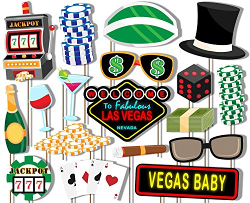 Las Vegas Casino Photo Booth Props Kit - 20 Pack Party Camera Props Fully Assembled