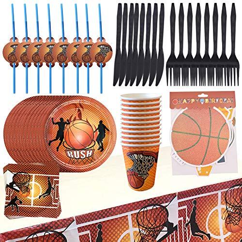 BESLIME Basketball Geschirr Set, Einweg Geschirr Serviert 8 Gäste Teller, Tassen, Servietten, Banner, Tischdecke, Stroh, Gabeln und Messer, 62 Stück
