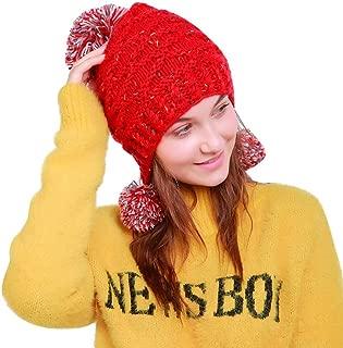 Elogoog Women Knit Hat, Warm Peruvian Beanie Wool Winter Ski Hat Cap with Earflap Pom