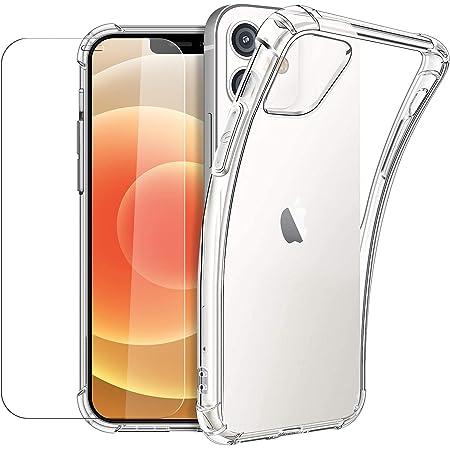 New&Teck Coque Compactible avec iPhone 12/12 Pro (6.1) + [Verre Trempé Protection écran], Housse Etui en Transparent Silicone TPU Souple [Bumper avec Coins Renforcés], Protection Claire.