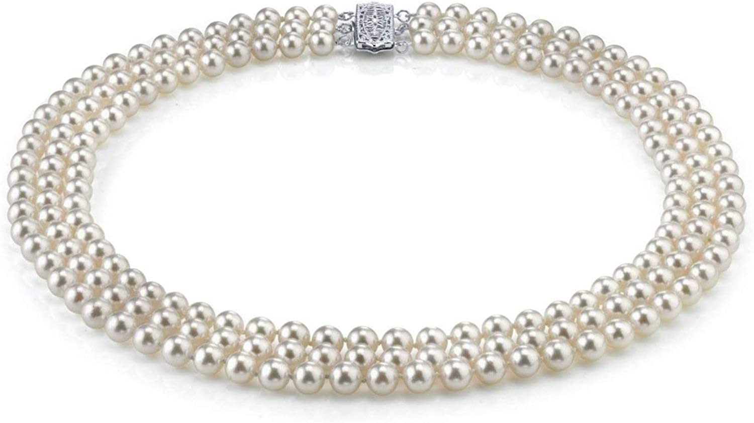 THE PEARL SOURCE 14K Gold 5-6mm AAAA Quality Triple Strand White Freshwater Cultured Pearl Necklace for Women in 16-18