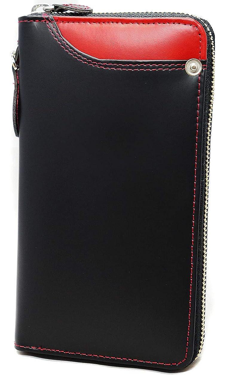 テレビわずかな運命的な極上ドイツ製ボンデッドレザー 長財布 大容量 YKK ラウンドファスナー ブラック×レッド ME0297_c2