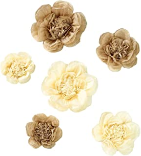 BalsaCircle 6 pcs 7 9 11-Inch Taupe and Cream Paper Peony Flowers - Wall Backdrop Party Wedding Decorations Supplies Sale