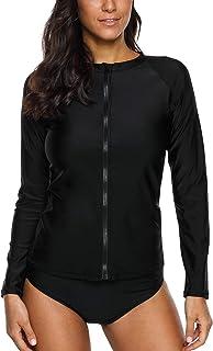 ATTRACO Women's Rashguard Swimsuit Zip Front Sun Protection Shirt UPF 50+