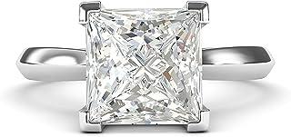 Anello di fidanzamento in argento Sterling quadrato da 8 mm con diamante tagliato a forma di principessa