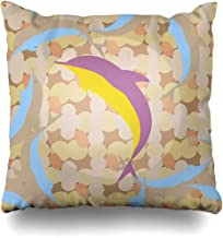 Throw Pillow Cover Cushion Case Smiling Aqua Flock Dolphins Under Water Aquarium Batik Bright Computing Cute Design Playful Home Decor Square 18x18 Inches