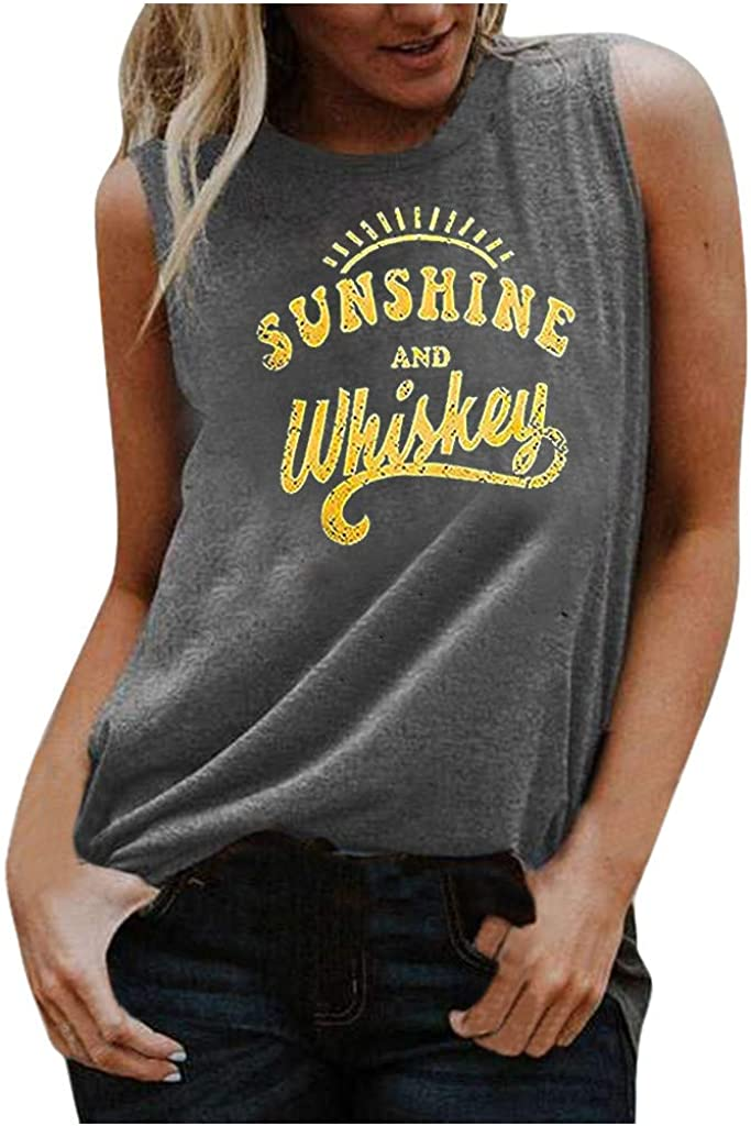Tank Tops for Women, Women Letter Print Tank Tops Sunshine Graphic ShirtCasual Summer Short Sleeve V-Neck Tee Top