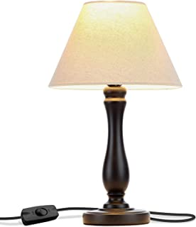 Brightech Noah LED Side Bedside Table & Desk Lamp: Traditional Elegant Black Wood Base, Neutral Shade & Soft, Ambient Light for Bedroom Nightstand, Living Room, Office; Incl. LED Bulb, Cord