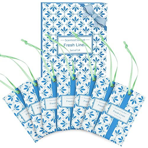 LA BELLEFÉE Sachet Bags Sachets for Drawers, Closets and Dresser. 14-Packs Linen Home Fragrance Small Packets Perfume Fresh Scent Sachets, Gift for Home, Wardrobe, Car