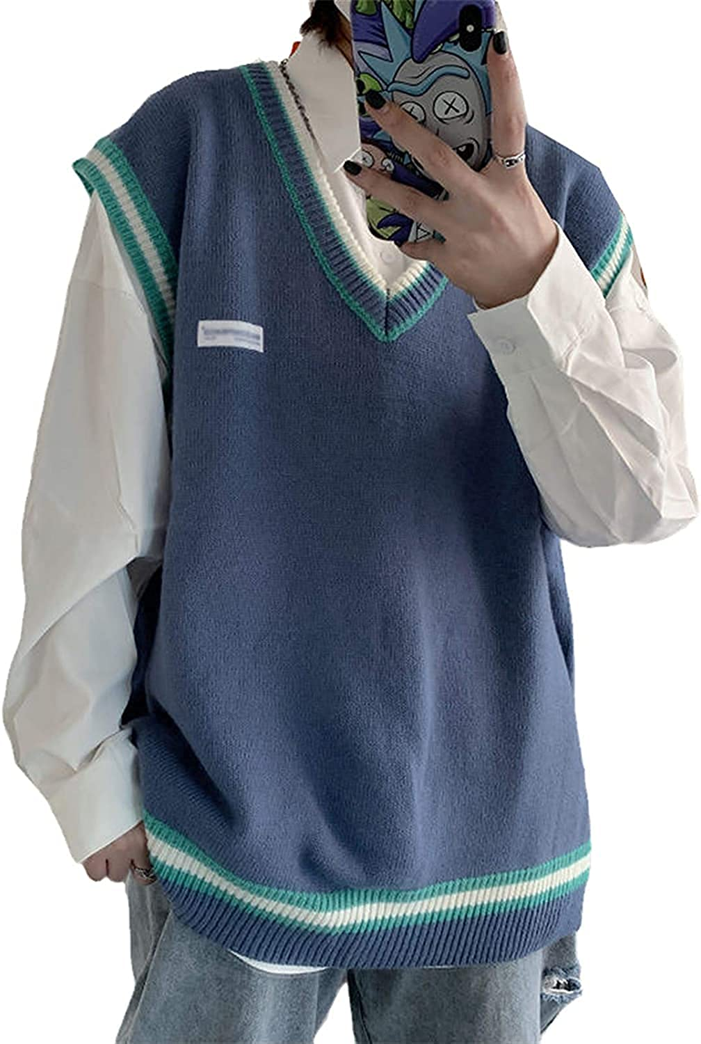 Sweater Vest Men V-Neck Knitted Couples Oversize Harajuku Vests Ins Chic Korean Style Leisure (Blue,Small)
