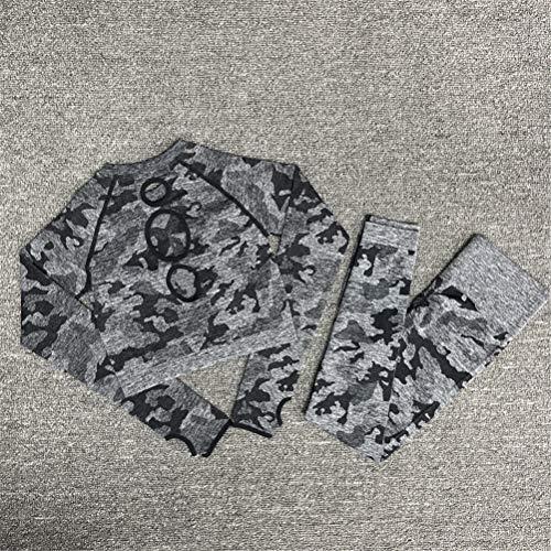Hbao Yoga-Kleidung Yoga-BH Sportkleidung Fitness-Studio Fitness Kleidung Fitness Hosen Sport Nahtlose Camouflage + langärmelige Kleidung Frauen (Color : Black, Size : Medium)
