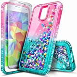 E-Began Case for Samsung Galaxy S5 with Screen Protector, Sparkle Glitter Flowing Waterfall Liquid Floating Quicksand with Shiny Bling Diamond, Durable Girls Women Cute Phone Case (Pink/Aqua)