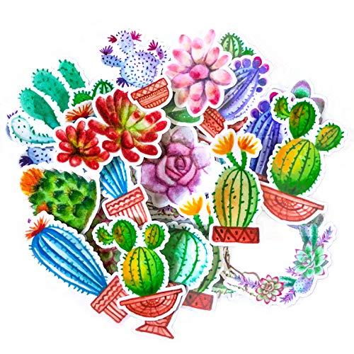 Navy Peony Bunte Kaktus Sticker Set | kleine wasserdichte Sticker für Laptop, Skateboards und Handyhüllen | süße Sticker für Scrapbooking, Tagebuch, Planer und Zeitung (31 Stück)