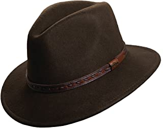 Classico Men's Crushable Felt Safari With Leather Hat, Brown/Olive shades,M