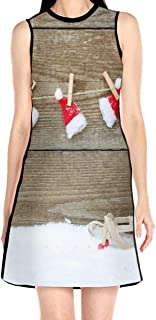 Women's Sleeveless Dress Christmas Hat On The Wood Fashion Casual Party Slim A-Line Dress Midi Tank Dresses