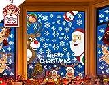 CheChury Netter Weihnachtsmann Weihnachten selbstklebend Fensterdeko Weihnachtsdeko Sterne Weihnachts Rentier Aufkleber Schneeflocken Aufkleber Winter Dekoration Weihnachtsdeko Weihnachten Removable