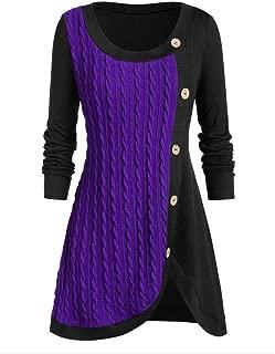 Dainzuy Women Sweater Dress O-Neck Long Sleeve Solid Botton Pachwork Asymmetric Cable Knit Tops Sweater