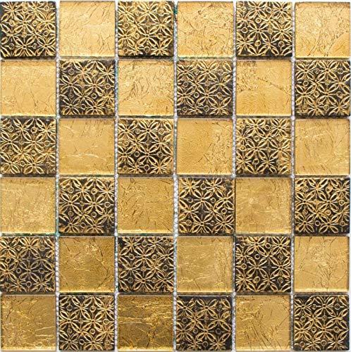 Mosaikfliese Transluzent gold Glasmosaik Crystal Resin Optik gold MOS88-8OP7