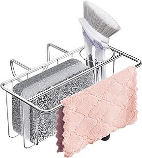 GKDOMS Sponge Holder for Kitchen Sink,3 in 1 Sink Caddy, Rust Proof in-Sink Brush Holder Organizer Dish Cloth Hanger, Kitc...