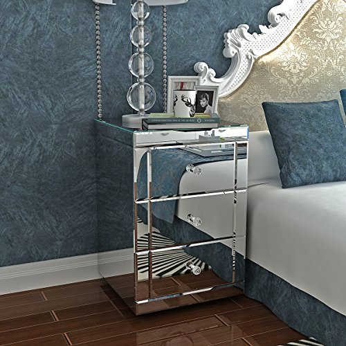 Panana Modern Mirrored Bedside Tables Bedside Cabinets Nightstand Lamp Tables Side End Table Storage Unit with 3 Drawers and Crystal Handles Glass Table for Bedroom, 40cm x 40cm x 60cm