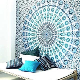 EYES OF INDIA - QUEEN WHITE BLUE INDIAN ELEPHANT MANDALA TAPESTRY HANGING Picnic Bohemian Decor by Eyes of India