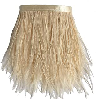 ADAMAI Natural Ostrich Feathers Trims Fringe DIY Dress Sewing Crafts Costumes Decoration Pack of 2 Yards (Cream)