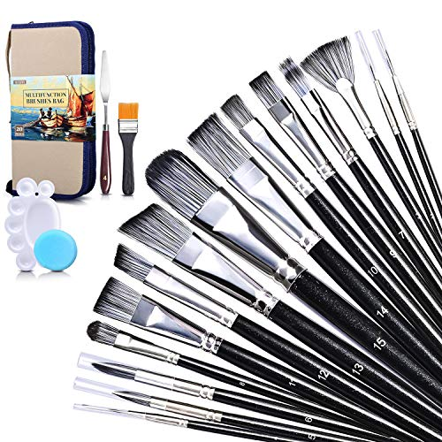 Paint Brush Set, SUEFFI 20 Pieces Acrylic Paint Brushes with Standable Carrying Case, Paint Tray, Palette Knife and Sponge for Acrylic Watercolor Oil Gouache, Artist Paint Brushes for Adults, Kids
