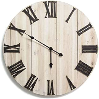 Stratton Home Décor S11574 Distressed White Wood Wall Clock, 28.00 W X 1.75 D X 28.00 H, Antique Bronze, whitewashed