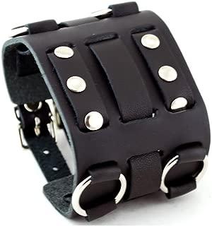 United Watchbands Wide Black Leather Tri Clasp Cuff Wrist Watch Band Rock Bracelet Cuff Cool