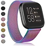 Amzpas Bands Compatible with for Fitbit Versa 2 / Versa SE/Versa Lite/Versa, Breathable Stainless Steel Loop Mesh Magnetic AdjustableWristbands for Women Men(Small,Colorful)