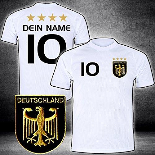 Deutschland Trikot mit GRATIS Wunschname Nummer Wappen Typ #D 2020 günstig im EM/WM Weiss - Geschenke für Kinder,Jungen,Baby. Fußball T-Shirt personalisiert