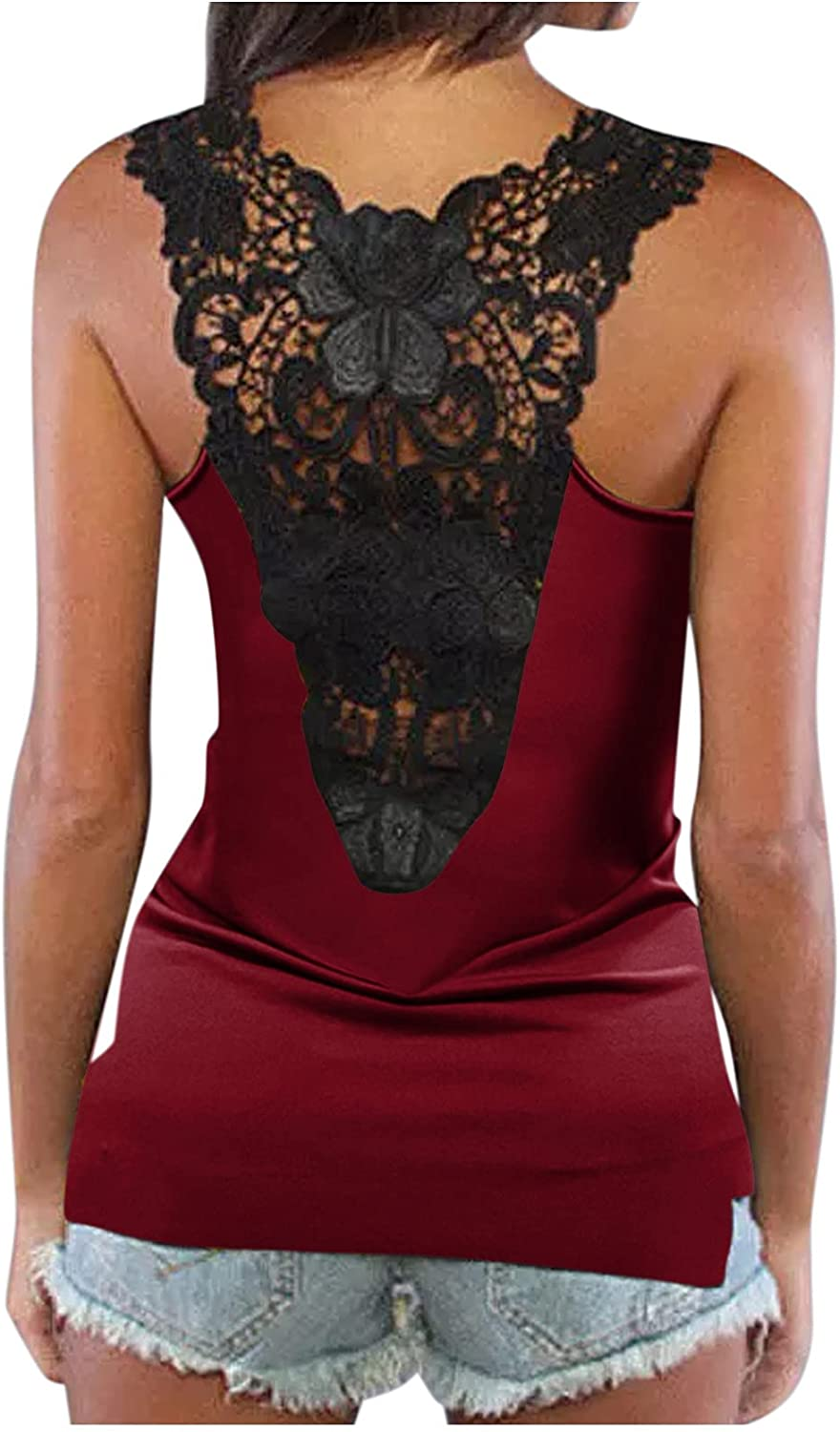 shaozheny Tops for Women Summer Casual Cami Tank Tops Fashion Lace Camisole Crop Tops Sleeveless Vest
