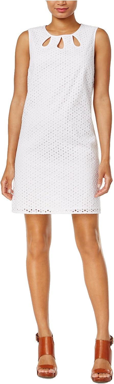 Maison Jules Women's Cutout Shift Dress, Bright White (XS)
