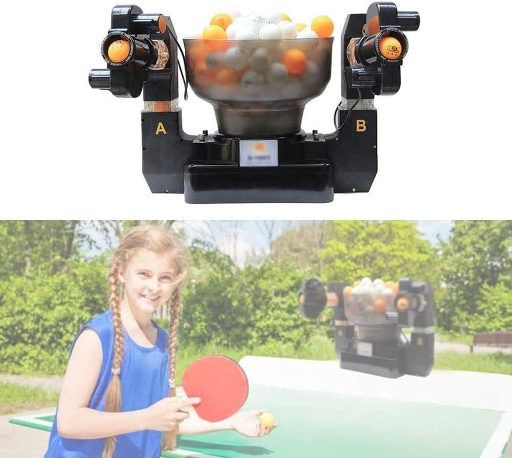 KDKDA Ping-Pong Robot Máquina de spin Tenis de Mesa Robots Máquina automática for la Formación de Bola 2 Cabezas Mesa de Ping Pong Bola Máquina automática giratoria Mesa de Ping Pong Robot Wireless