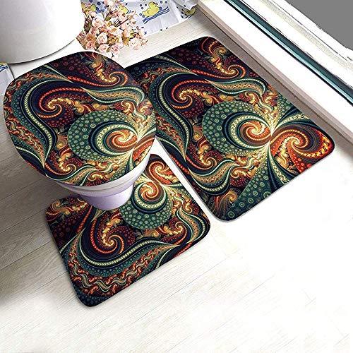 Juego de 3 alfombras de baño Trippy Acid Trippy Trip psicodélicos colores espirales para baño, alfombrilla de contorno de inodoro cubierta en forma de U