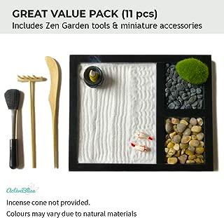 ActiveBliss Zen Garden for Desk with 3 Essential Garden Tools, 2 Types of Rocks, Zen Sand, Incense Burner & Garden Accessories (Home Decor, Office Decor, Gift Set)