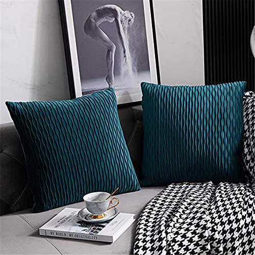 Panthem Set di 2 federe in velluto, 45 x 45 cm, motivo a righe, cuscini decorativi, cuscini per divano, camera da letto, ufficio, auto