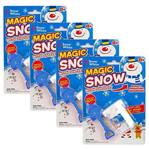 Instant Christmas Magic Fake Fluffy Snow Powder Set Mini Shovel Build A Snowman Grows 600% Just Add Water Xmas Decoration - 4 Pack