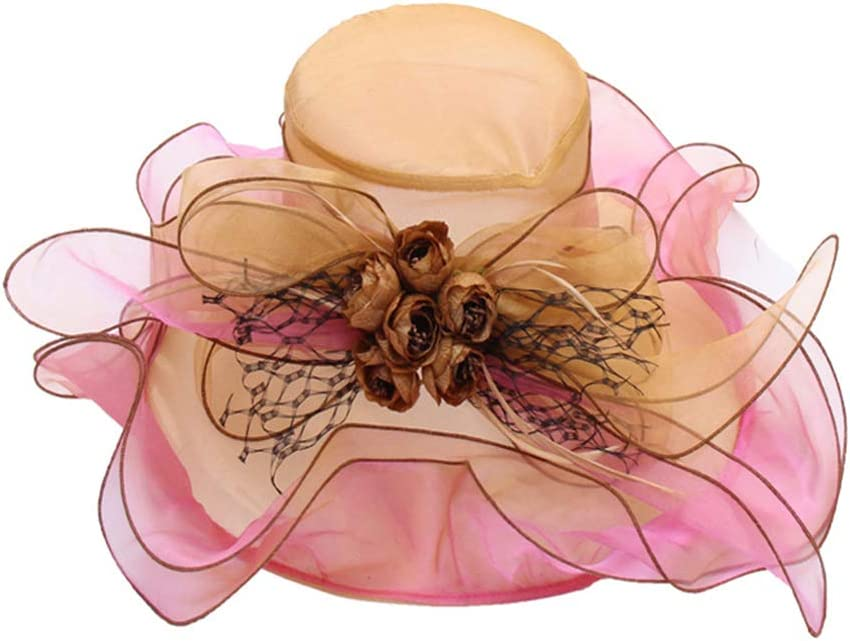 QUQUTWO Women Kentucky Tea Party Church Hat Contrast Color Ruffles Floral Fascinator Cap Gold+Rose Red