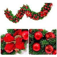 人工のためのボールとクリスマスリース2.7センチメートル、100個のLED、雪と赤い弓モミの花輪の装飾クリスマス籐飾り,赤