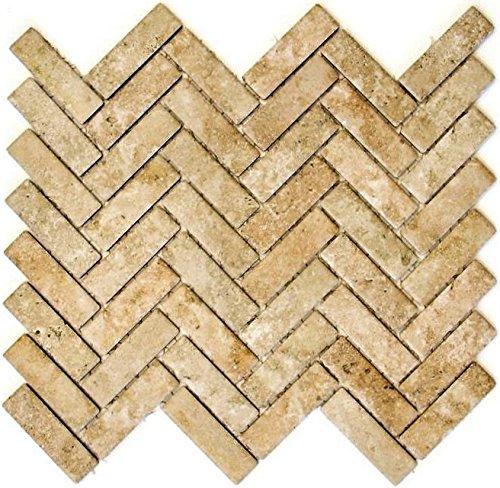 Mozaïek tegel keramiek visgraat steenlook beige voor vloer muur badkamer toilet douche keuken vliegenspiegel tegelverkleeding badkuip mozaïekplaat