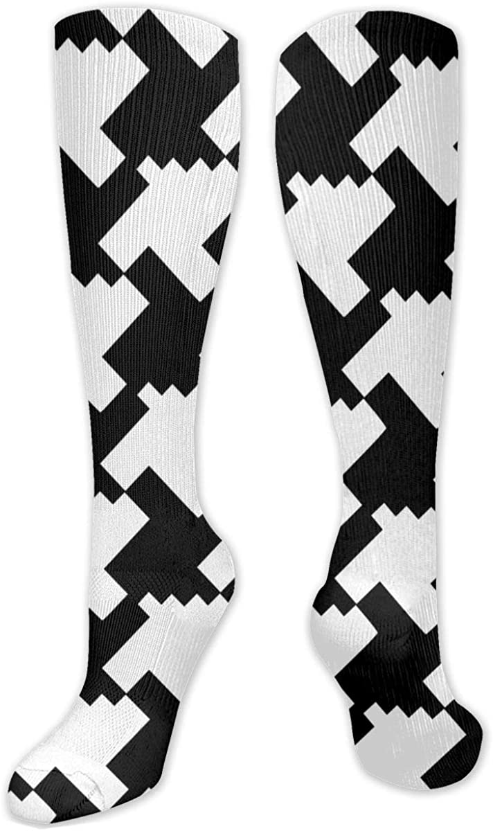 Houndstooth Black And White Knee High Socks Leg Warmer Dresses Long Boot Stockings For Womens Cosplay Daily Wear